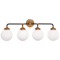 Bistro Four Light Bath Sconce in Hand-Rubbed Antique Brass and Black with White Glass