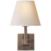 Architectural Wall Sconce in Brushed Steel with Natural Paper Shade