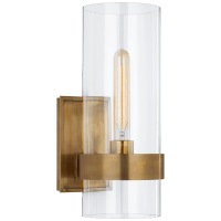 Presidio Small Sconce in Hand-Rubbed Antique Brass with Clear Glass