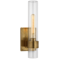 """Presidio 14"""" Outdoor Sconce in Hand-Rubbed Antique Brass with Clear Glass"""