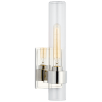 """Presidio 14"""" Outdoor Sconce in Polished Nickel with Clear Glass"""