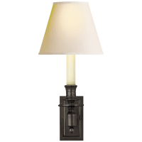 French Single Library Sconce in Bronze with Natural Paper Shade