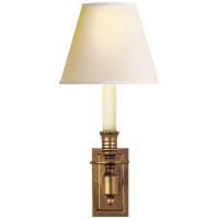 French Single Library Sconce in Hand-Rubbed Antique Brass with Natural Paper Shade