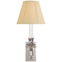 French Single Library Sconce in Polished Nickel with Tissue Shade