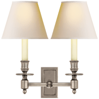 French Double Library Sconce in Antique Nickel with Natural Paper Shades