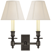 French Double Library Sconce in Bronze with Linen Shades