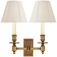 French Double Library Sconce in Hand-Rubbed Antique Brass with Linen Shades