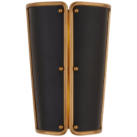 Hastings Small Sconce in Hand-Rubbed Antique Brass with Black Shade