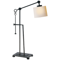Aspen Forged Iron Table Lamp in Black Rust with Natural Paper Shade
