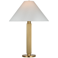 Durham Large Table Lamp in Soft Brass with Linen Shade