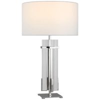 Malik Large Table Lamp in Polished Nickel and Crystal with Linen Shade