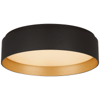 Shaw Small Flush in Matte Black and Gild with White Glass