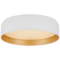 Shaw Small Flush in Matte White and Gild with White Glass