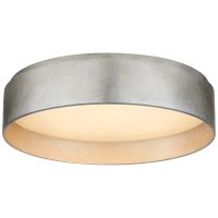 Shaw Medium Flush in Burnished Silver Leaf with White Glass