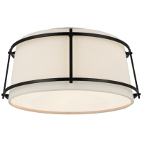 Callaway Small Flush Mount in Bronze with Linen Shade and Frosted Acrylic Diffuser