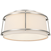 Callaway Small Flush Mount in Polished Nickel with Linen Shade and Frosted Acrylic Diffuser
