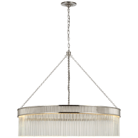 Menil Large Chandelier in Polished Nickel with Crystal Rods