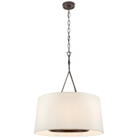 Dauphine Large Hanging Shade in Aged Iron with Linen Shade