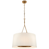 Dauphine Large Hanging Shade in Gilded Iron with Linen Shade