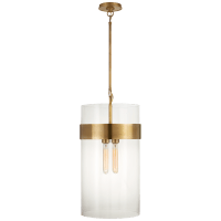 Presidio Medium Pendant in Hand-Rubbed Antique Brass with Clear Glass