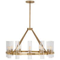 Presidio Medium Chandelier in Hand-Rubbed Antique Brass with Clear Glass
