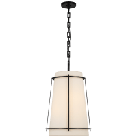 Callaway Medium Hanging Shade in Bronze with Linen Shade and Frosted Acrylic Diffuser