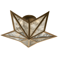 Constellation Small Flush Mount in Hand-Rubbed Antique Brass with Antique Mirror