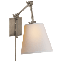 Graves Pivoting Sconce in Antique Nickel with Natural Paper Shade