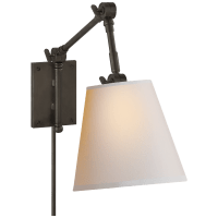 Graves Pivoting Sconce in Bronze with Natural Paper Shade