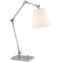 Graves Task Lamp in Polished Nickel with Linen Shade