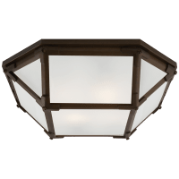 Morris Flush Mount in Antique Zinc with Frosted Glass