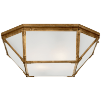 Morris Large Flush Mount in Gilded Iron with Frosted Glass
