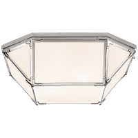 Morris Large Flush Mount in Polished Nickel with White Glass