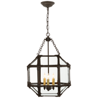 Morris Small Lantern in Antique Zinc with Clear Glass