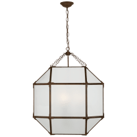 Morris Large Lantern in Antique Zinc with Frosted Glass