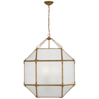 Morris Large Lantern in Gilded Iron with Frosted Glass