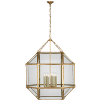 Morris Grande Lantern in Gilded Iron with Clear Glass