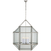 Morris Grande Lantern in Polished Nickel with Clear Glass