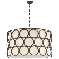 Alexandra Large Hanging Shade in Aged Iron with Linen Shade