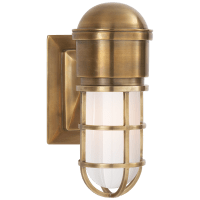 Marine Wall Light in Hand-Rubbed Antique Brass with White Glass
