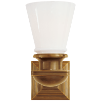 New York Subway Single Light in Hand-Rubbed Antique Brass with White Glass