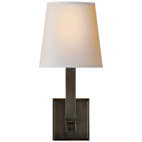 Square Tube Single Sconce in Bronze with Natural Paper Shade