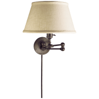 Boston Swing Arm in Bronze with Linen Shade