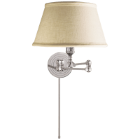 Boston Swing Arm in Polished Nickel with Linen Shade