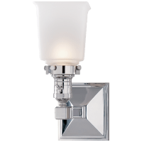 Boston Square Single Light in Chrome with Frosted Glass
