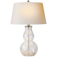 Open Bottom Gourd Table Lamp in Clear Glass with Natural Paper Shade