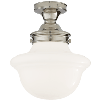 Edmond Flush Mount in Polished Nickel with White School House Glass