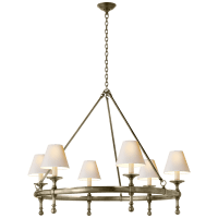 Classic Ring Chandelier in Antique Nickel with Natural Paper Shades