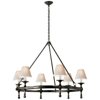 Classic Ring Chandelier in Bronze with Natural Paper Shades