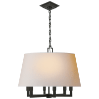 Square Tube Hanging Shade in Bronze with Natural Paper Shade